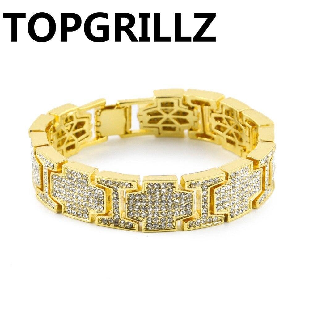 TOPGRILLZ Hip Hop Hot Sales European And American Contracted Men Bracelet Gold&Silver Color Plated Bracelets