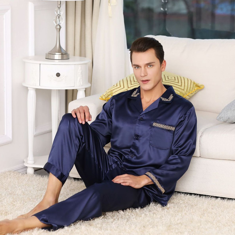 2019 Hot Sale Mens Silk Satin Pajama Set Luxury Long Sleeve Nightwear Suit Print Pajamas Home Service Mens Clothes Big Size XXXL