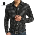 Novos homens da Moda Camisa de Manga Longa de Moda Polka Dot Impressão Plus Size Casual Camisas Dos Homens de Negócios Camisas Chemise Homme A9C2003