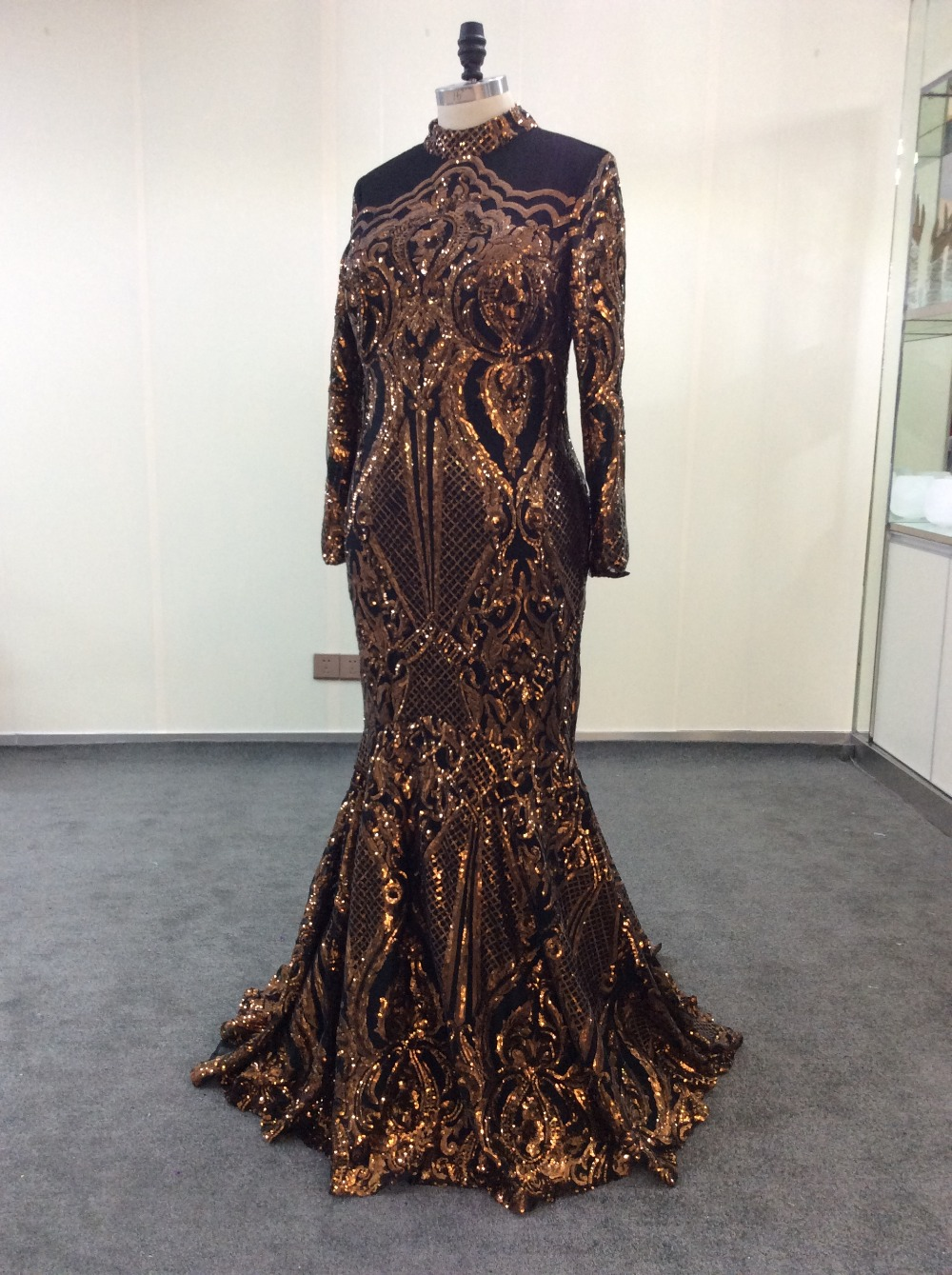 5ae13bbe JaneVini Bling Gold Sequin Evening Dress Arabic Women Mermaid Long Sleeve  Evening Gown Lange Jurk Dubai Formal Party Prom Dress-in Evening Dresses  from ...