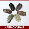 (500 pieces/bag) Cheap Shipping 2.8cm 8 teeth Stainless steel silicone lined snap clips for hair extensions- 6 different colors