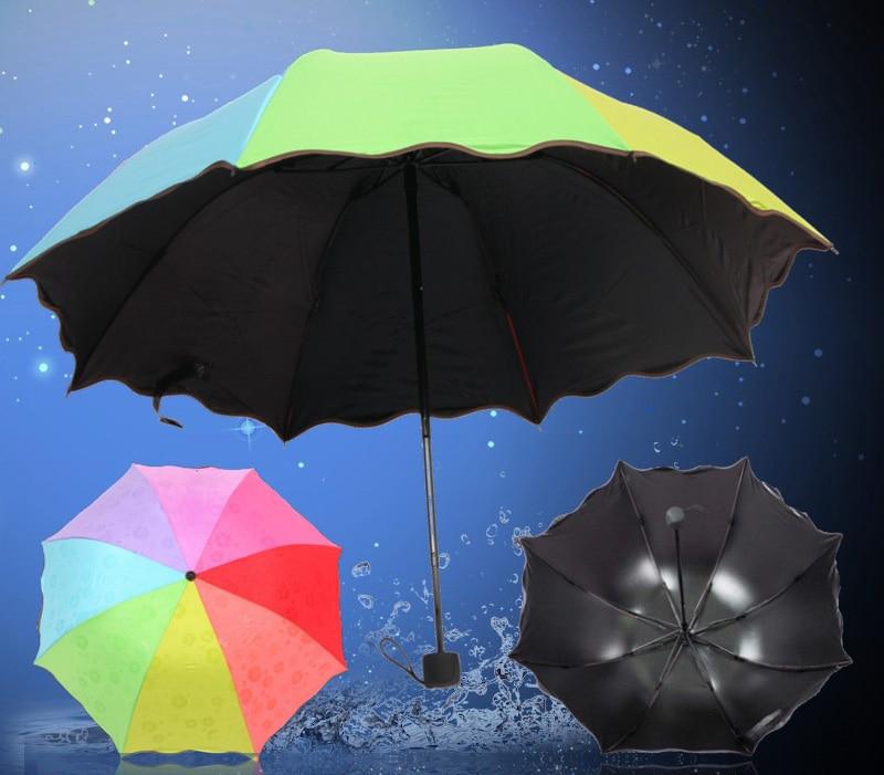 Crno ljepilo voda cvjetanje kišobran uv zaštita kišobran kišovito sunčano 7 boja lubenica duge olovke kišobran radijus 55cm
