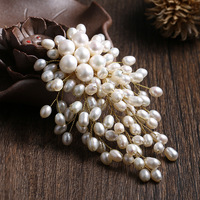 freshwater pearls Luxury tassel bouquet copper wire handmade brooch brooches pendant wedding accessories Mother's gift