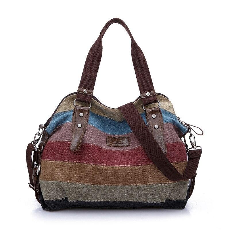 Women s Hobos Shoulder Bag Vintage Striped Multi Pocket Patchwork School Messenger Bag New Fashion Casual
