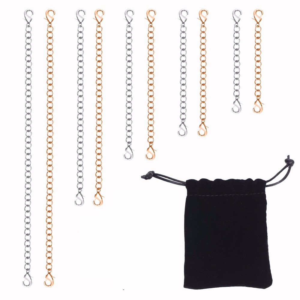 10pcs Fashion Stainless Steel Resizable 2 3 4 5 6 Inch For Women & Men In 2 Colors Necklaces Bracelet Extende