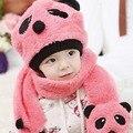 Nueva Lindo Panda de la Historieta del Bebé Sombreros Niños Niñas Sombrero de Invierno niños Gorros de Lana Del Bebé Del Sombrero y Bufanda Para Niños Ropa Accessoires