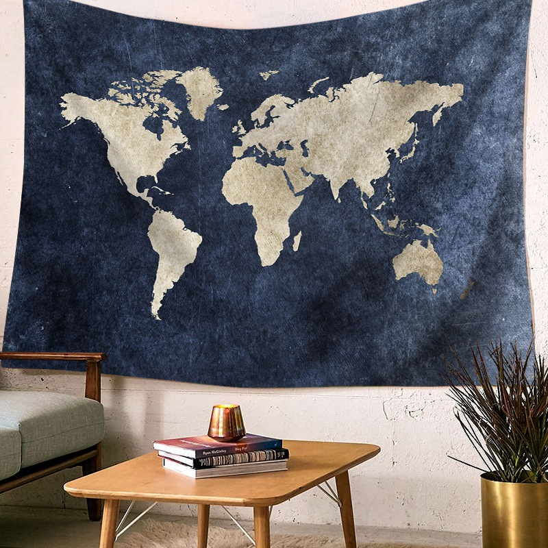 Watercolor World Map Tapestry Abstract Art Painting Tapestry Wall Hanging Beach Throw Blanket Yoga Mat Badsheet Home Decoration|Decorative Tapestries| |  - title=