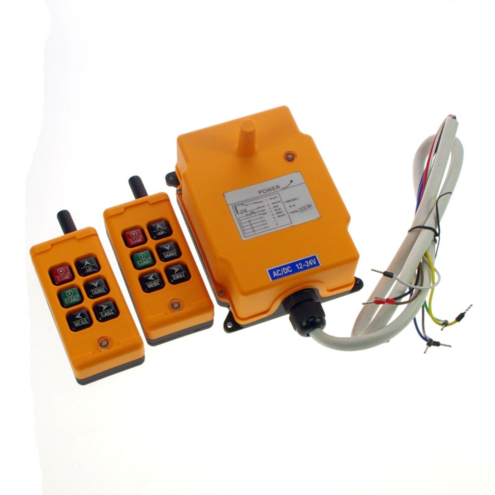12V-415V 6 Channels 1 Speed 2 Transmitters Hoist Crane Truck Radio Remote System Controller CE 2 speed 2 transmitters 10 channels hoist crane industrial truck radio remote control push button switch system controller
