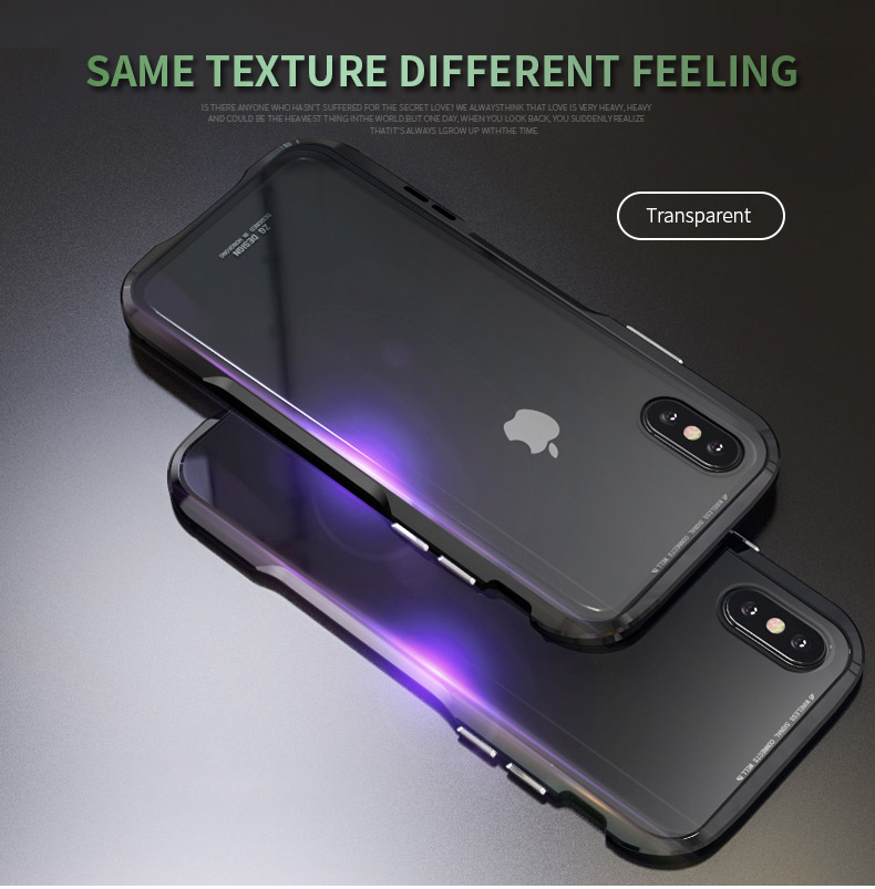 For iPhone X Magnetic Adsorption Cases Shockproof Metal Bumper (20)