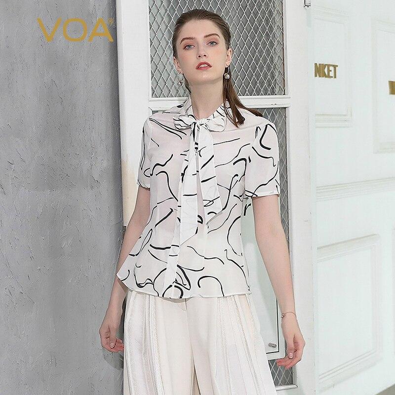 VOA Heavy Silk Blouse Women Tops Office Shirt Print Tee Graffiti Sweet Harajuku Basic Ribbon Bow Slim Camisetas Mujer B581