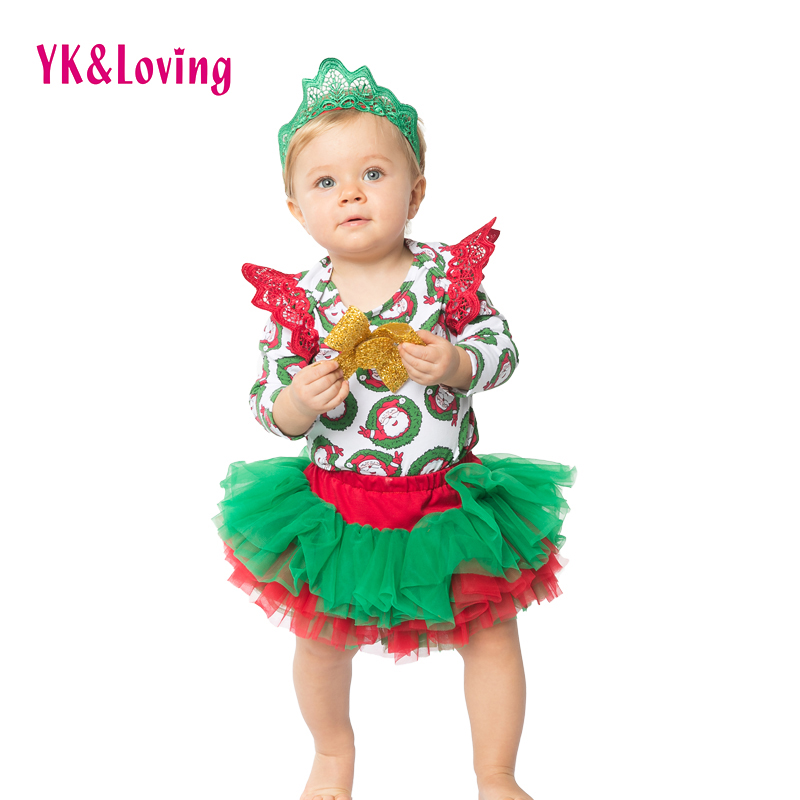 Winter Girls Clothing Sets Christmas Bodysuit with Ruffles Tutu Cake Skirt Shorts with Mutiple Yarn Clothes Christmas Gift A