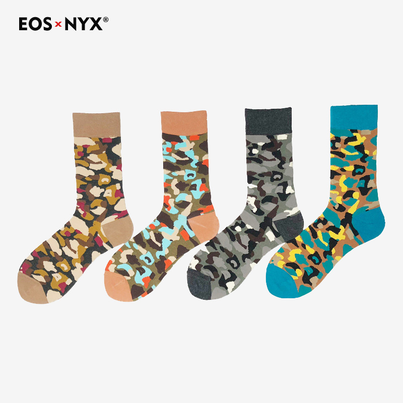 Eosnyx Men Colour Crew Cotton European Fashion Style Casual Socks Harajuku Designer Camouflage Fun Trendy Socks