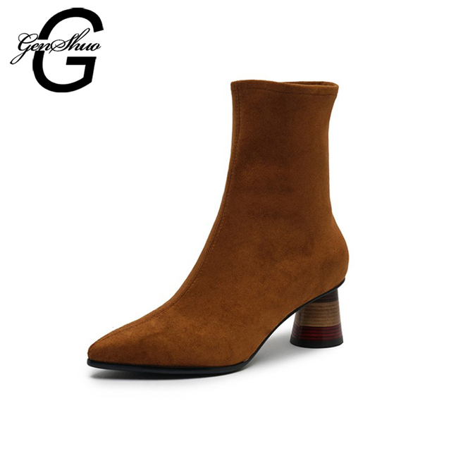 GENSHUO Autumn Brown Women Ankle Boots Ladies Pumps Sexy Hoof Heels Boots For Women Slip On Pointed Toe Women High Heels Shoes