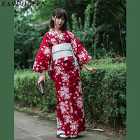 Yukata female kimonos woman 2018 Japanese kimono traditional dress obi haori Japanese cosplay clothing geisha costume KK2347