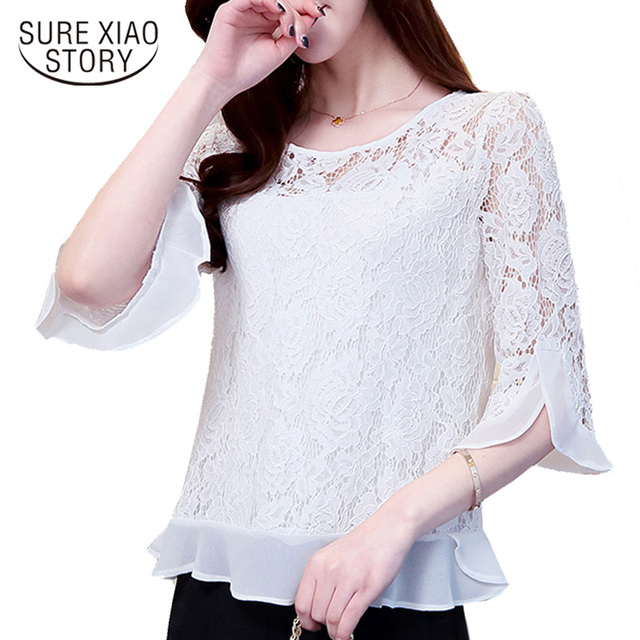 New Arrival 2017  Female Casual Plus Size Elegant Slim Floral Lace Blouse Spring Fashion Half Sleeve Chiffon Blouse 109C 30