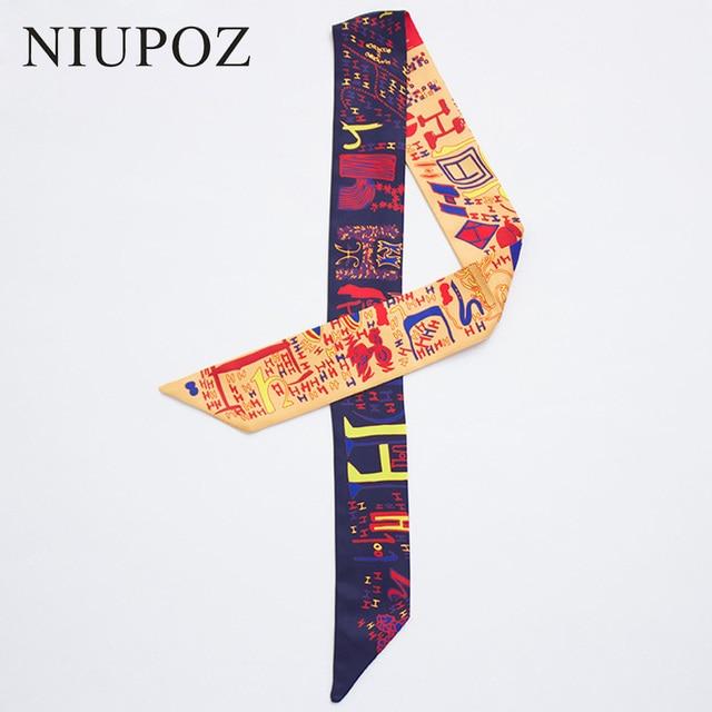 2018 moda nueva sarga seda pequeñas mujeres moda bufanda bolsos para el cabello mango decoración corbata multifunción cinta de mano bufanda M281