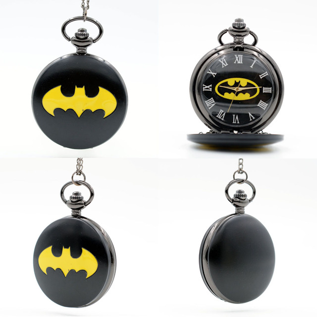 BM New Fashion Batman Black Dial Movie Quartz Pocket Watch Analog Pendant Neckla