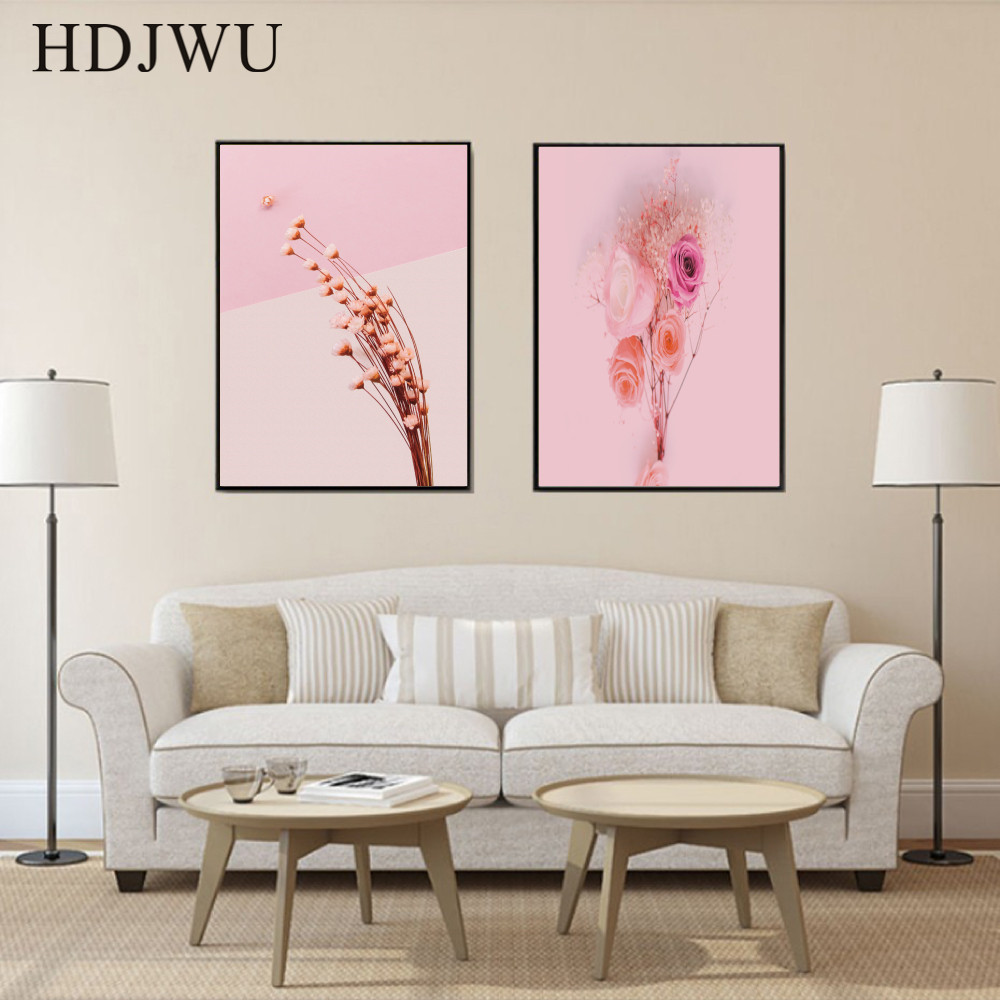Nordic Canvas Art Home Wall Picture Pink Flower Cute Printing Posters Wall Pictures for Living Room Decor AJ00180 in Painting Calligraphy from Home Garden