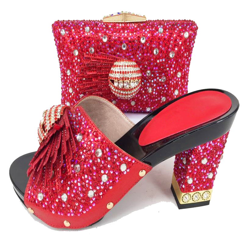 Slippers shoes women and clutches bags in red color with many stones 2018  new arrival shoes 37911f121033
