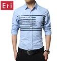 2017 New Design Printed Striped Cotton White/Blue Business Formal Dress Shirts Men Fashion Long Sleeve Social Shirt 3XL X036