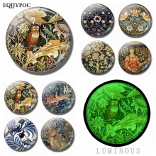 William Morris Art Animals Rabbit Bird Flower Tiger 30 MM Fridge Magnets Glass Luminous Refrigerator Magnet Glowing At Night