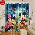 Oscurecimiento Patrón de dibujos animados de Mickey Minnie Mouse 3D Cortina de Encargo de Los Niños Espesa Cortina de Ventana de la Sala de estar