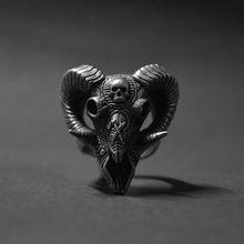 Gothic Goat Devil Demon Skull Rings Wizard Pagan 316L Stainless Steel Ring Mens Punk Rock Biker Jewelry linsion big king vampire demon skull 925 sterling silver mens biker rock punk pendant 8q001