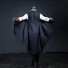 2016 новые летние мужчины белье жилет мужской большой размер длинные ретро жилет куртка мужчины панк рукавов платок жилет кардиган пальто, Q75