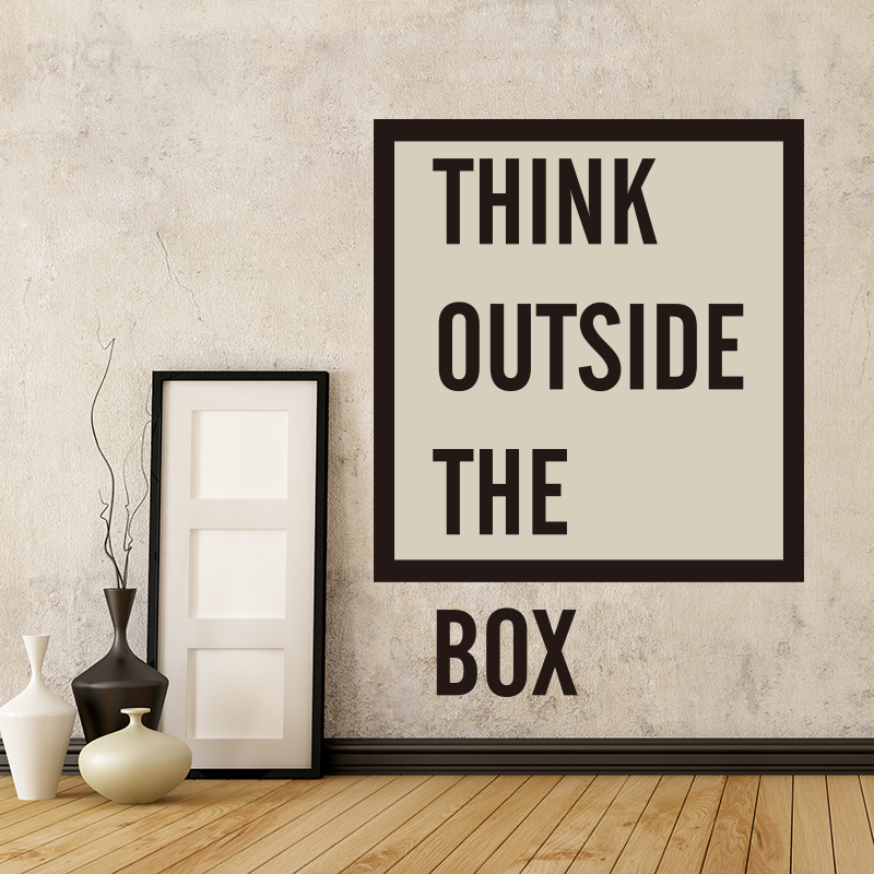think outside the box quote wall sticker office inspirational motivational quote wall decal. Black Bedroom Furniture Sets. Home Design Ideas