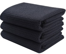 Sinland Microfiber Waffle Weave Fabric Dish Hair Drying Kitchen Hand Face Towels Washcloth 16 Inch X 24 3/6 Pieces Black