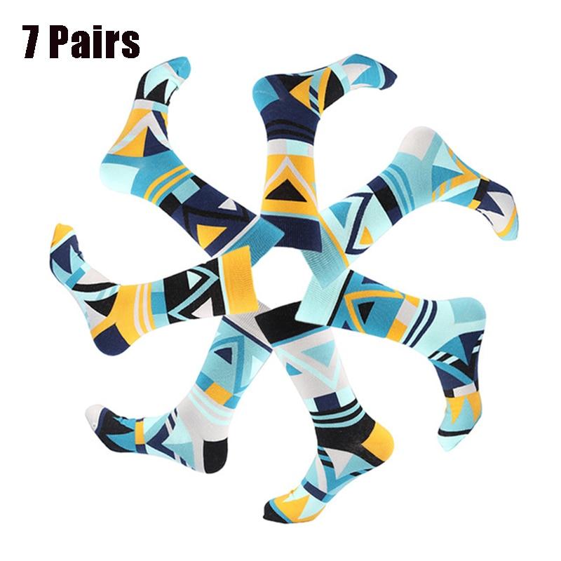 JULY'S SONG  7 Pairs Happy Men Funny Socks Men Happy Socks Men Funny Art Dress  Color Men Dress Socks