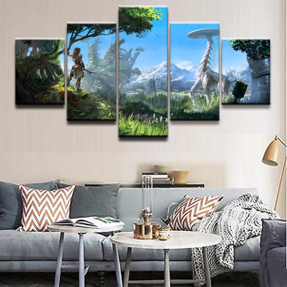 Wall Art Poster Painting Modular Pictures For Living Room Decorative Pictures Canvas Printed 5 Panel Game Horizon Zero Dawn Draw