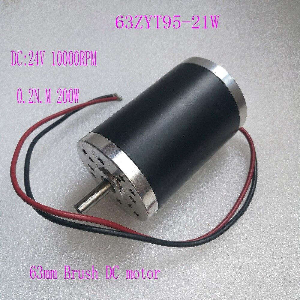 63mm aimant Permanent brosse DC moteur 24 V 200 W 10000 tr/min 0.2N.m PMDC moteur 63ZYT95