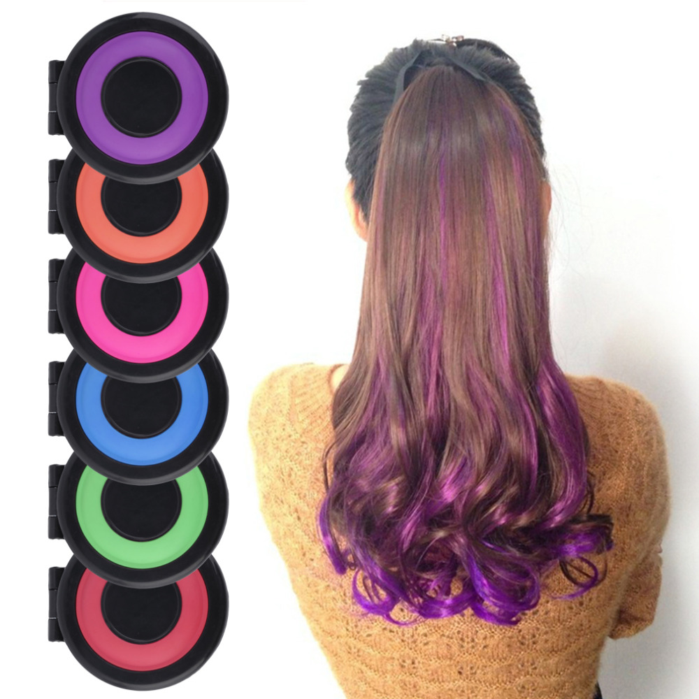 6 colors Hair Color Crayons Temporary Hair Dye Powder cake Styling ...