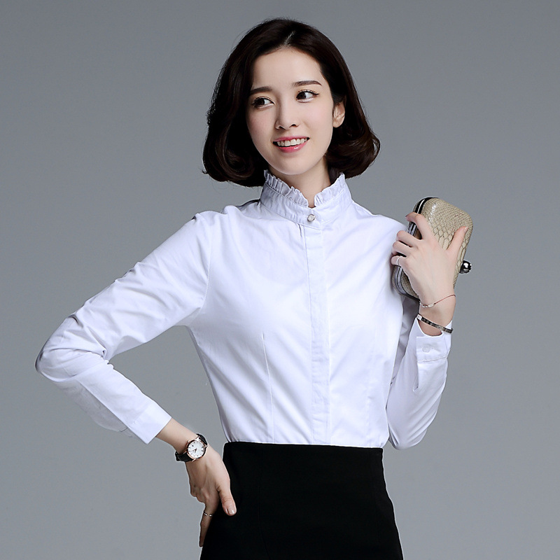 d221d4c18da675 חולצת נשים הלבנה חולצה צווארון קפלים עמדה חדש 2016 סתיו ללבוש משרד מקרית  נשים חולצות ארוכות