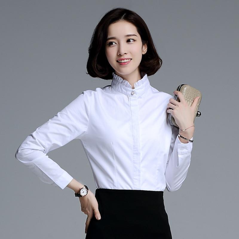Women White Shirt Blouse 2016 Autumn New Stand Ruffles