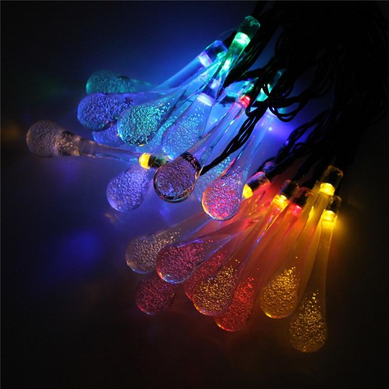 Msing 480CM Solar Powered 20 LED String Light Icicle Lights Raindrop String LED Fairy Lights For