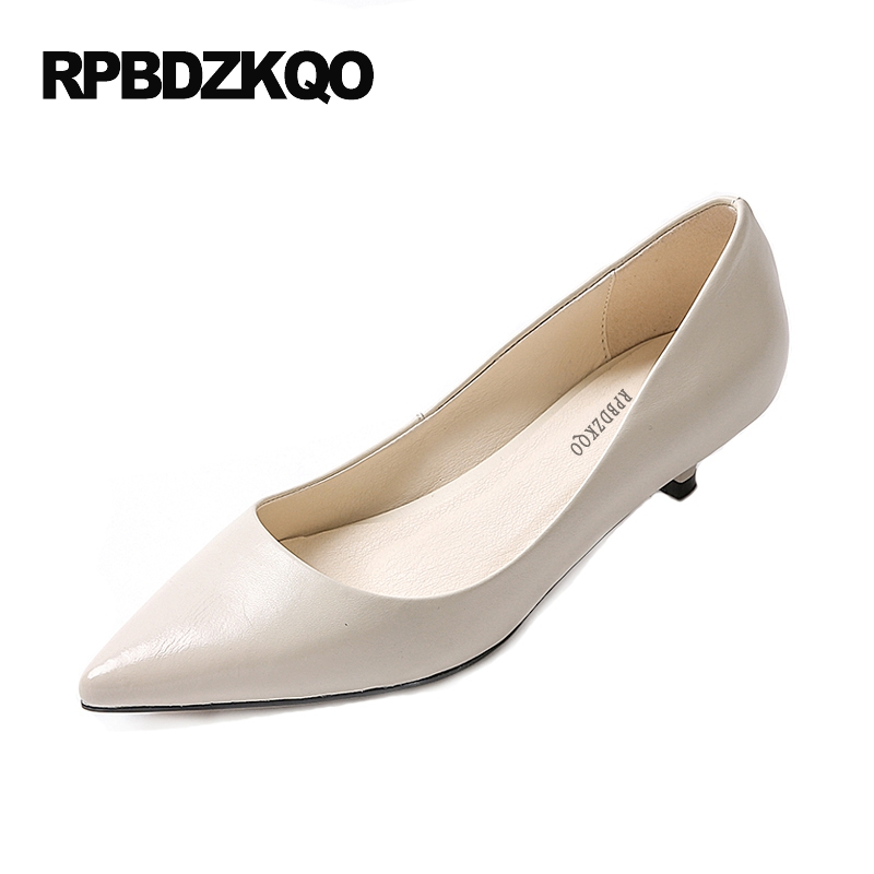 Women Kitten Pointed Toe 2017 Pumps Medium Formal Size 4 34 Beige Office High Heels Dress Shoes Low Fashion Spring New Chinese plus size 34 49 new spring summer women wedges shoes pointed toe work shoes women pumps high heels ladies casual dress pumps