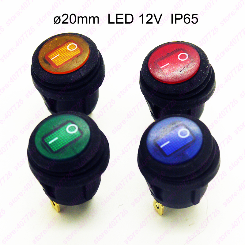 1PC Waterproof LED 12V 25A 20MM Rocker Switch IP65 On/Off Mini Push Button Round Switch On Car Dash 3Pin SPST LED illuminated 5pcs black mini round 3 pin spdt on off rocker switch snap in s018y high quality