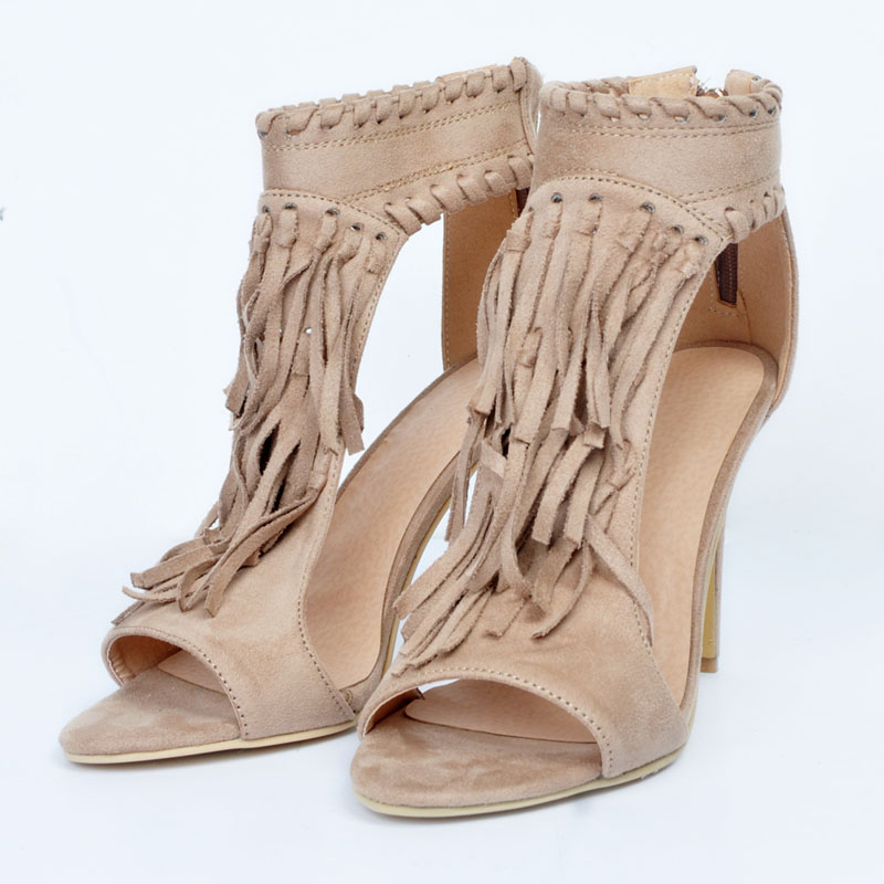 Fringe Cheville Pédant Sexy Chaussures Sandale Chaussons noir Toe Stiletto Haut Robe Zip Talons Couvert D'été Apricot Peep Dames Bottines Bottes Gland PwPpE