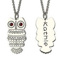 Owl Necklace With Back Engraving Silver Personalized Name Necklace Design Your Owl Necklace Birthstone Jewelry