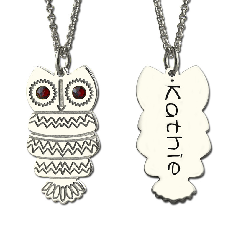 Owl font b Necklace b font with Back Engraving Silver Personalized Name font b Necklace b
