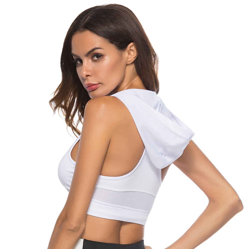 Foto from back Sport's Bra Top with Push Up for women. Women's Push up top for sport the white color.