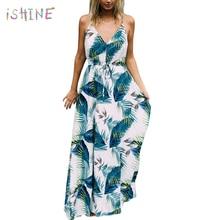 2018 Women Boho Long Dress Ladies Turquoise Tropical Print Maxi Dress Sexy Spaghetti Strap V Neck Summer Beach Dresses Vestidos