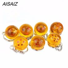 Fashion Kartun Anime Dragon Ball Z Gantungan Kunci Anak Dbz Cosplay Dragon Ball Z 7 Bola Kristal Gantungan Kunci PVC Liontin Kunci pemegang(China)