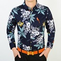 Alta Calidad Más Nuevo Estilo Para Hombre 2016 Otoño de Manga Larga Camisas Florales Flores Impresión Masculinos Casual de Negocios Camisa de Vestir de Algodón