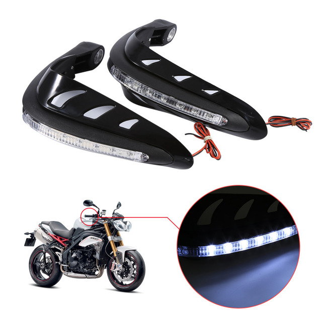 1 Pair Universal Handlebar Hand Protector LED Light Motorcycle Hand Guards