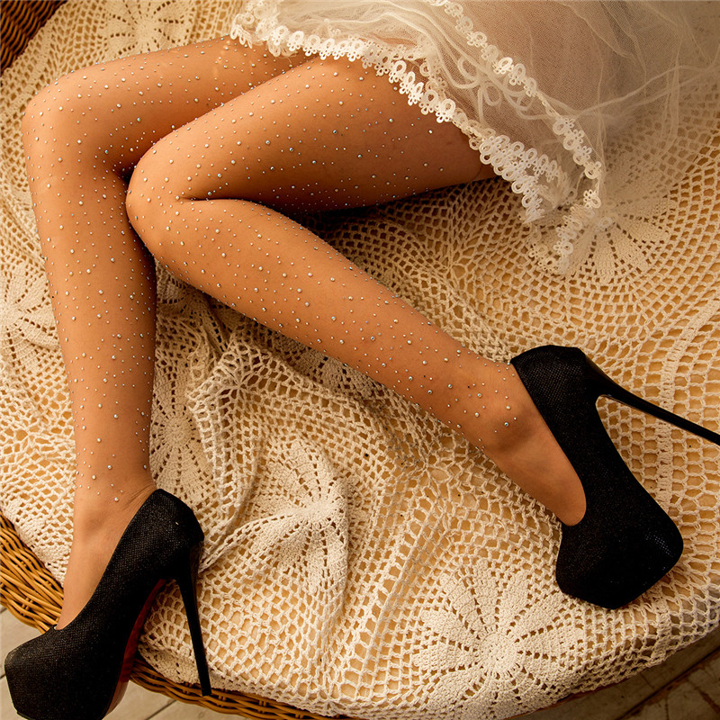 Women Sexy Nylon Stockings Female Bling Crystal Rhinestone Sexy Tights Pantyhose Hosiery Party Club Long Thigh High Stockings