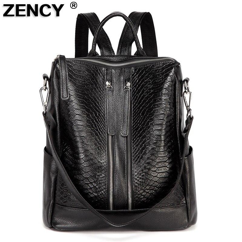 ZENCY 100% Genuine Leather Alligator Women Cowhide Classic Deign American Style Fashion Crocodile Women's Backpacks Designer Bag