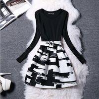 Celebrity Style Autumn Winter Women European Brand Designer Womens Skirts Suit Set Fake Two Piece Outfits